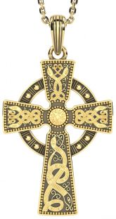 "Mens Black Rhodium 14K Yellow Gold coated Silver ""Warrior"" Irish Celtic Cross Pendant Necklace"