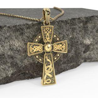 "Mens Gold & Black Rhodium ""Warrior"" Celtic Cross Pendant Necklace"