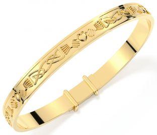 14K Gold Silver Celtic  Claddagh Baby Child Bangle Bracelet