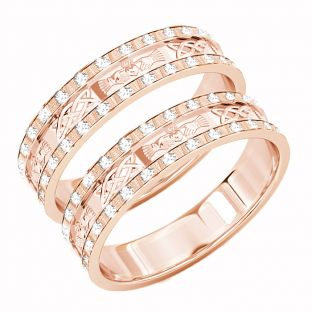 Rose Gold Genuine Diamond .5cts Claddagh Celtic Wedding Band Ring Set