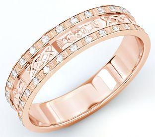 10K/14K/18K Rose Gold Genuine Diamond .5cts Claddagh Celtic Mens Wedding Band Ring