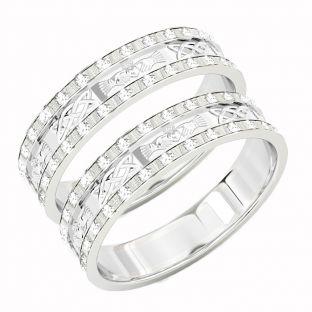 White Gold Genuine Diamond .5cts Claddagh Celtic Wedding Band Ring Set
