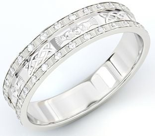 10K/14K/18K Gold White Genuine Diamond .5cts Claddagh Celtic Mens Wedding Band Ring