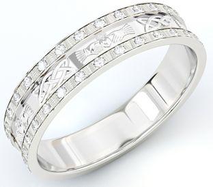 10K/14K/18K White Gold Genuine Diamond .5cts Claddagh Celtic Mens Wedding Band Ring