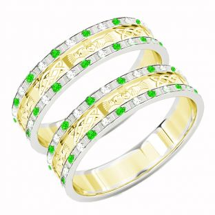Two Tone Gold White & Yellow Genuine Emerald .25cts Diamond .5cts Claddagh Celtic Wedding Band Ring Set