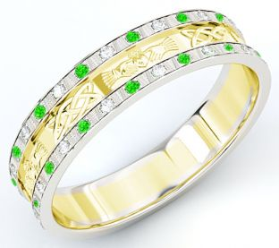 10K/14K/18K Two Tone Gold White & Yellow Genuine Emerald .25cts Diamond .5cts Claddagh Celtic Mens Wedding Band Ring