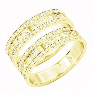 Gold Genuine Diamond .5cts Claddagh Celtic Wedding Band Ring Set