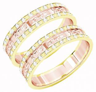 Yellow & Rose Gold Genuine Diamond .5cts Claddagh Celtic Wedding Band Ring Set