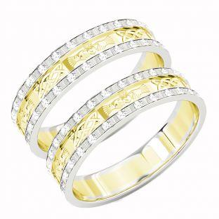 10K/14K/18K Two Tone Gold White & Yellow Genuine Diamond .5cts Claddagh Celtic Wedding Band Ring Set
