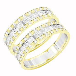 Two Tone Gold Yellow & White Genuine Diamond .5cts Claddagh Celtic Wedding Band Ring Set