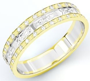 10K/14K/18K Two Tone Gold Yellow & White Genuine Diamond .5cts Claddagh Celtic Mens Wedding Band Ring