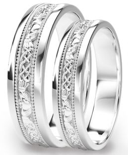 White Gold Claddagh Celtic Wedding Band Ring Set