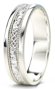 10K/14K/18K White Gold Claddagh Celtic Mens Wedding Band Ring