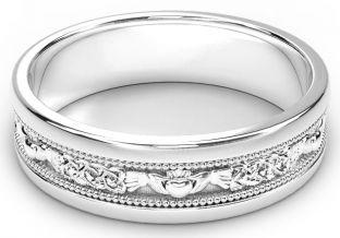 White Gold Claddagh Celtic Mens Wedding Band Ring