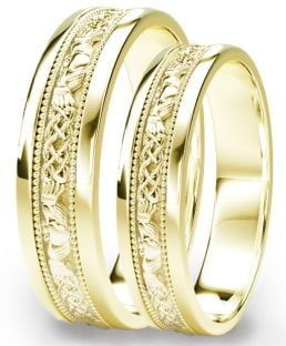 Gold Claddagh Celtic Wedding Band Ring Set
