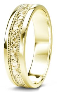 10K/14K/18K Gold Claddagh Celtic Mens Wedding Band Ring