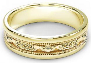 Gold Claddagh Celtic Mens Wedding Band Ring