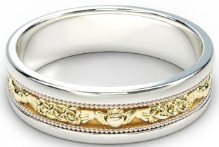 White & Yellow Gold Claddagh Celtic Mens Wedding Band Ring
