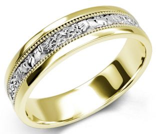 10K/14K/18K Yelow & White Gold Claddagh Celtic Mens Wedding Band Ring