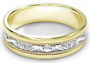 Yellow & White Gold Claddagh Celtic Mens Wedding Band Ring