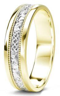 10K/14K/18K Yellow & White Gold Claddagh Celtic Mens Wedding Band Ring