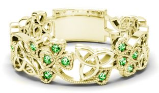 Gold Emerald .13cts Shamrock Celtic Knot  Band Ring Unisex Mens Ladies