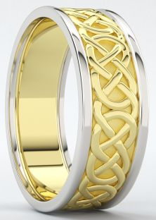 "Mens 10K/14K/18K Two tone Yellow & White Gold Celtic ""Eternity Knot"" Wedding Band Ring"