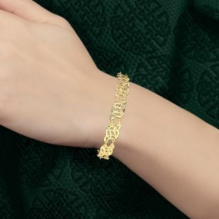 """14K Gold coated Silver Celtic """"Trinity Knot"""" Bracelet"""