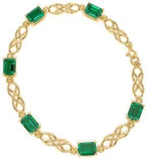 14K Gold coated Silver Celtic Emerald Bracelet