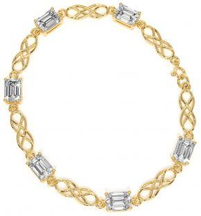 14K Gold coated Silver Diamond Celtic Bracelet