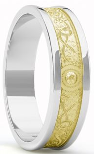 "Yellow & White Gold Celtic ""Warrior"" Band Ring - 7mm width"