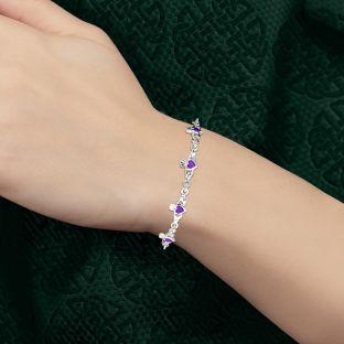 Silver Irish Claddagh Amethyst Bracelet