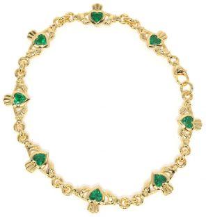 14K Gold Silver Emerald Irish Claddagh Bracelet