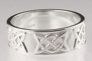 """Silver """"Lovers Knot"""" Celtic Band Ring Set"""