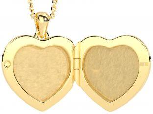 "14K Gold Silver Diamond Irish ""Claddagh"" Heart Locket Pendant Necklace"