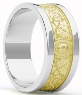 "Mens Yellow & White Gold Celtic ""Warrior"" Band Ring - 9mm width"