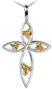 14K Gold Silver Celtic Knot Cross Pendant Necklace