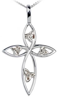 Silver Celtic Knot Cross Pendant Necklace
