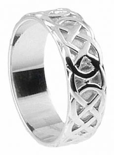 """Mens Silver Celtic """"Eternity Knot"""" Band Ring"""