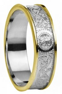 "White & Yellow Gold over Silver Celtic ""Warrior"" Band Ring - 5.5mm width"