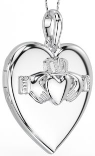 "Silver Irish ""Claddagh"" Locket Pendant Necklace"