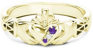 10K/14K/18K Gold Genuine Alexandrite Purple.035cts Genuine Diamond .1cts Claddagh Celtic Knot Ring - June Birthstone
