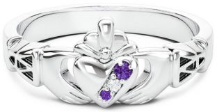 10K/14K/18K White Gold Genuine Alexandrite Purple.035cts Genuine Diamond .1cts Claddagh Celtic Knot Ring - June Birthstone