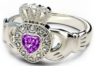 10K/14K/18K White Gold Genuine Diamond .13cts Alexandrite .25cts Claddagh Engagement Ring - June Birthstone