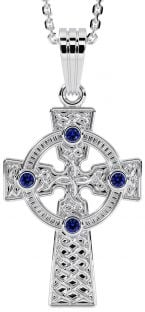 "White Gold Genuine Sapphire .12cts ""Celtic Cross"" Pendant Necklace"