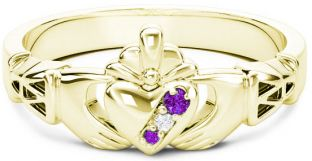 10K/14K/18K Gold Genuine Amethyst.035cts Genuine Diamond .1cts Claddagh Celtic Knot Ring - February Birthstone
