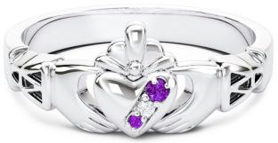 10K/14K/18K White Gold Genuine Amethyst.035cts Genuine Diamond .1cts Claddagh Celtic Knot Ring - February Birthstone
