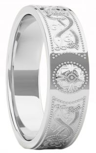 "Silver Celtic ""Warrior"" Band Ring Ladies Mens Unisex - 6mm width"