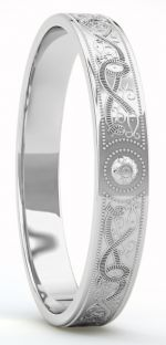 "Ladies Silver Celtic ""Warrior"" Band Ring - 4mm width"