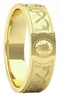 "Gold over Silver Celtic ""Warrior"" Band Ring Ladies Mens Unisex - 6mm width"